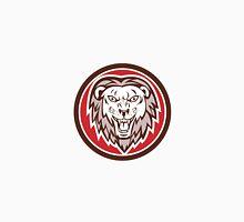 Angry Lion Head Roar Circle Retro Unisex T-Shirt