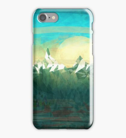 Mountains over the sky - minimalist digital painting iPhone Case/Skin