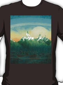 Mountains over the sky - minimalist digital painting T-Shirt
