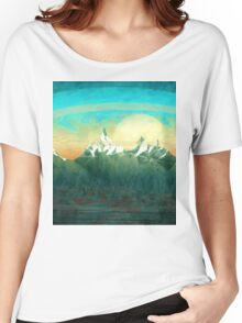 Mountains over the sky - minimalist digital painting Women's Relaxed Fit T-Shirt