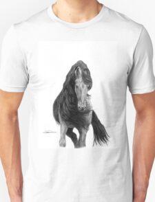 Black Flowing Manes Unisex T-Shirt