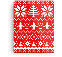 Ugly Christmas Sweater - Airplane / Pilot  Metal Print