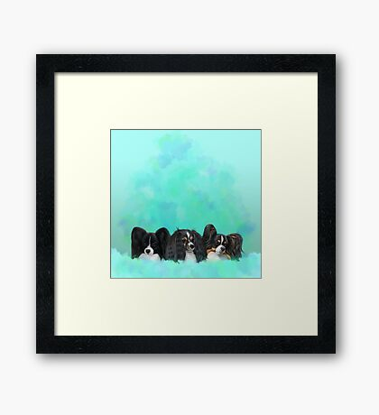 Papillon, Phalène, blue, green abstract Framed Print