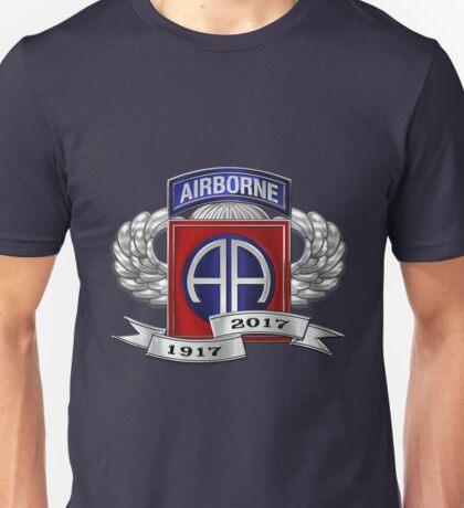 82nd Airborne Division 100th Anniversary Insignia over Blue Velvet Unisex T-Shirt