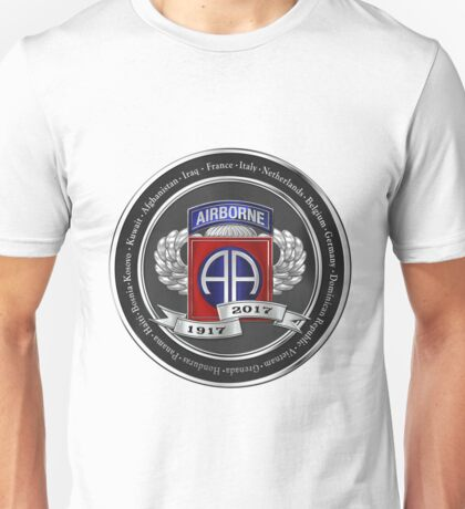 82nd Airborne Division 100th Anniversary Medallion over White Leather Unisex T-Shirt