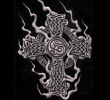 celtic cross with smoke  by thomasjart