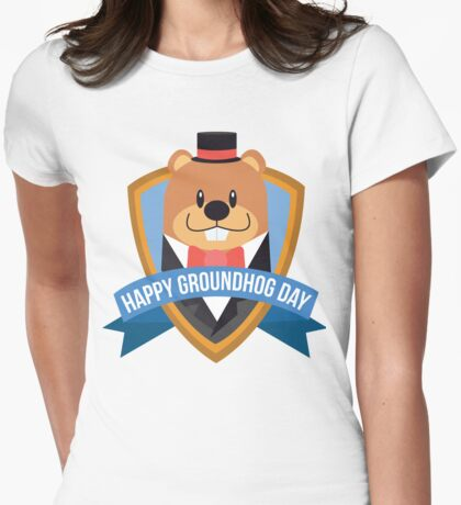 Happy Groundhog Day for Kids of all ages! Womens Fitted T-Shirt