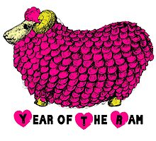 Pink Big Ram - Chinese New Year of The sheep Ram or Goat by PBdesigns