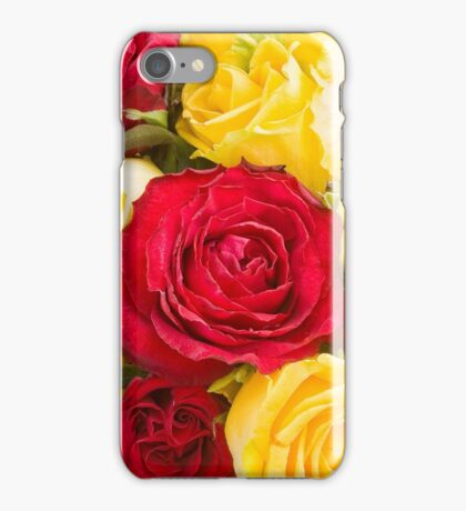 Red and yellow roses background iPhone Case/Skin