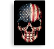 American Flag Skull Canvas Print