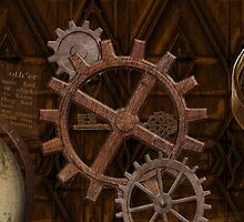 Steampunk Gears on Coppery-look Geometric Design by Val  Brackenridge