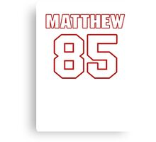 NFL Player Matthew Mulligan eightyfive 85 Canvas Print