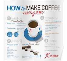 How to make coffee using project management? Square poster Poster