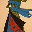 Geisha in blue, red and green by Shulie1