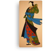 Geisha in blue, red and green Canvas Print