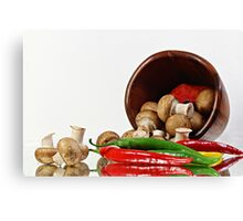 Peppers and Mushrooms Canvas Print