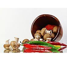Peppers and Mushrooms Photographic Print