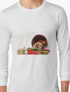 Peppers and Mushrooms Long Sleeve T-Shirt