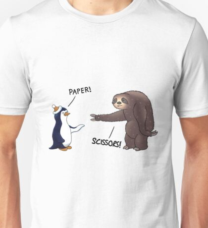 Sloth and Penguin playing rock paper scissors- funny sloth shirt Unisex T-Shirt