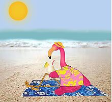 Lawn Flamingo on Vacation by Sharon Murphy
