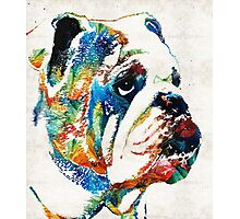Bulldog Pop Art - How Bout A Kiss - By Sharon Cummings Photographic Print