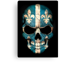 Quebec Flag Skull Canvas Print