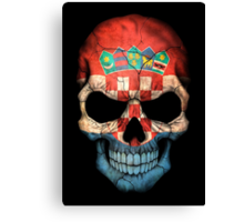 Croatian Flag Skull Canvas Print