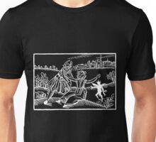 Antique Woodcut Maiden and the Devil - White for Dark Unisex T-Shirt