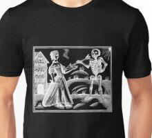 Death and the Maiden - woodcut - white on dark Unisex T-Shirt