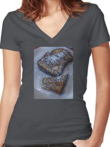 Who Decided French Toast With Sugar is Breakfast and Not Dessert? Women's Fitted V-Neck T-Shirt