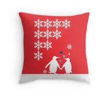 Penguin Couple Dancing in Snow Throw Pillow