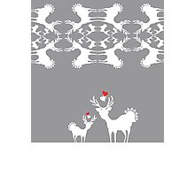 Cervidae Deer Pattern with Heart Photographic Print