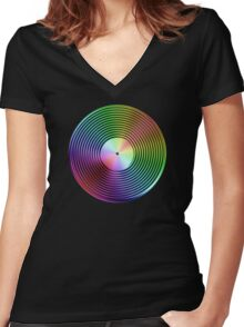 Vinyl LP Record - Metallic - Rainbow Women's Fitted V-Neck T-Shirt