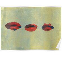 Monotype: Three Lips Poster