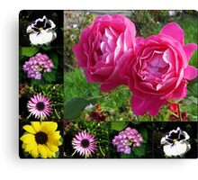 Floral Collage featuring Two Pink Roses Canvas Print