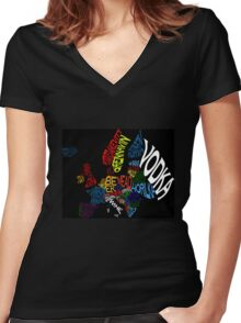 Drink Map - Europe Women's Fitted V-Neck T-Shirt