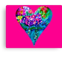 Pink Floral Heart Designer Art Gifts Canvas Print