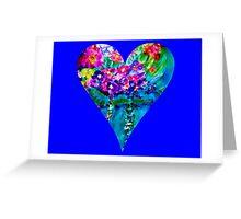 Blue Floral Heart Designer Art Gifts Greeting Card