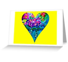 Yellow Floral Heart Designer Art Gifts Greeting Card