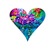 Floral Heart Designer Art Gifts - White Photographic Print