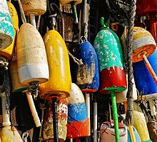 Buoys from Russell's Lobsters ... Fresh Off The Boat by Lois  Bryan