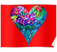 Red Floral Heart Designer Art Gifts Poster
