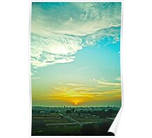 A sunrise by the fields Poster