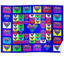 Blue Floral Hearts Designer Art Gifts Poster