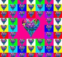 Pink Floral Hearts Designer Art Gifts by innocentorigina