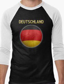 Deutschland - German Flag - Football or Soccer Ball & Text 2 Men's Baseball ¾ T-Shirt