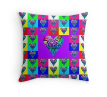 Purple Floral Hearts Designer Art Gifts Throw Pillow