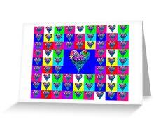 Blue Floral Hearts Designer Art Gift Greeting Card