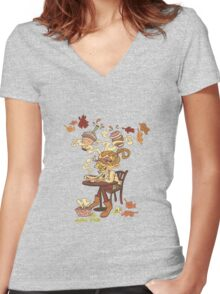 Pumpkin Spice and Cold Season Women's Fitted V-Neck T-Shirt