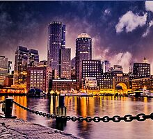 Skyline of Boston Harbor  by LudaNayvelt